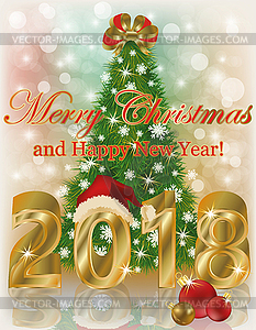 Clipart merry christmas and happy new year 2018 library Merry Christmas and Happy new year 2018 card, vector - vector clip art library