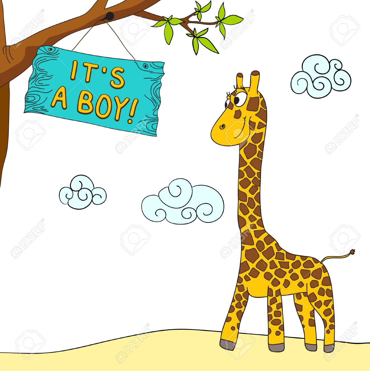 Clipart message boy svg library library Giraffe And Boy Arrival Message Royalty Free Cliparts, Vectors ... svg library library
