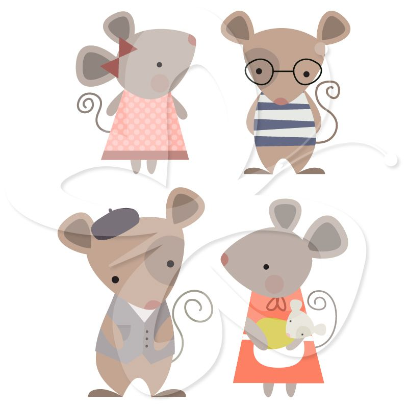 Cute mice clipart clip royalty free library A cute Mouse Family clip art clipart set by Creative Clip Art ... clip royalty free library