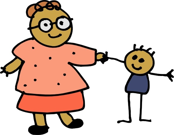 Clipart mom with kids png library stock Mom Holding Childs Hand clip art Free vector in Open office ... png library stock
