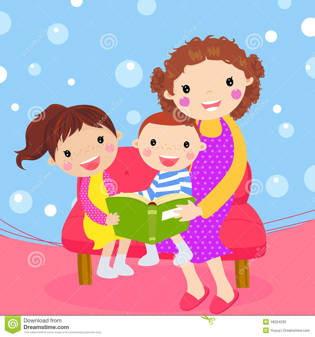 Clipart mom with kids graphic royalty free stock Young Mother Reading Book To Her Children Stock Photo - Image ... graphic royalty free stock