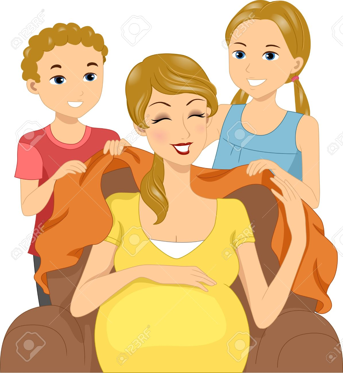 Clipart mom with kids clip download Illustration Of Kids Giving Their Mom A Blanket Stock Photo ... clip download