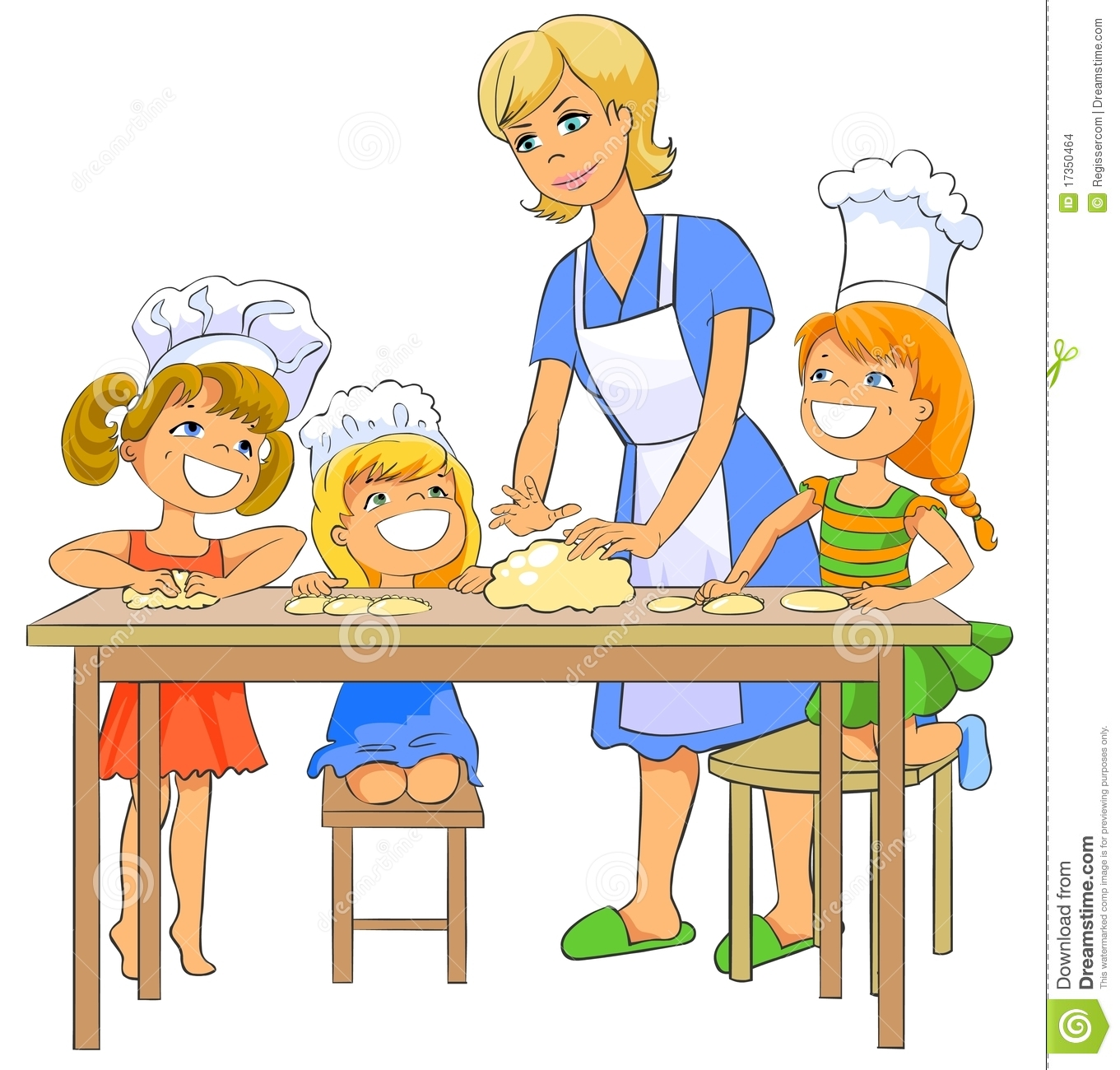 Clipart mom with kids jpg black and white Mom Cooking Clipart - Clipart Kid jpg black and white