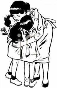 Clipart mom with kids banner free library Black and White Clipart Picture of a Mother Hugging Her Children banner free library