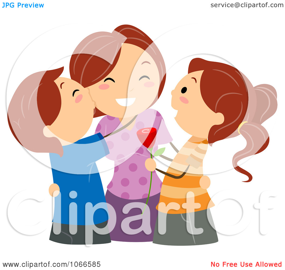 Clipart mom with kids vector library Clipart Kids Kissing Their Mom On Mothers Day - Royalty Free ... vector library