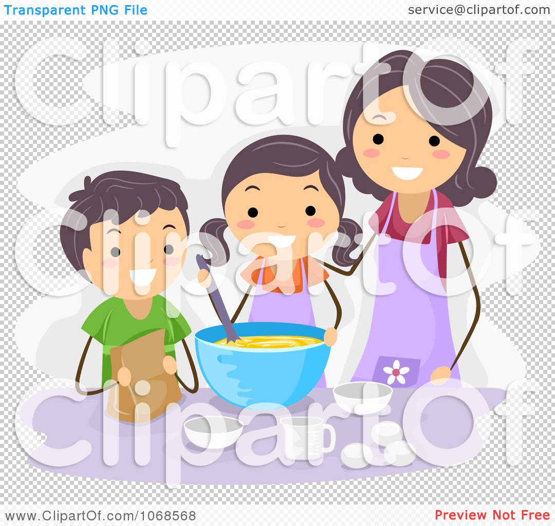 Clipart mom with kids graphic free stock Clipart Mom And Kids Baking - Royalty Free Vector Illustration by ... graphic free stock