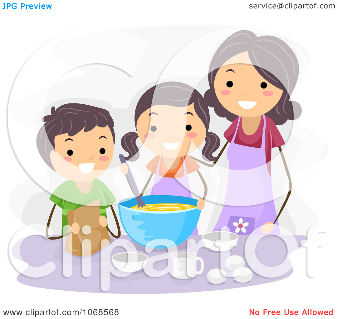 Clipart mom with kids image freeuse library Clipart Mom And Kids Baking - Royalty Free Vector Illustration by ... image freeuse library