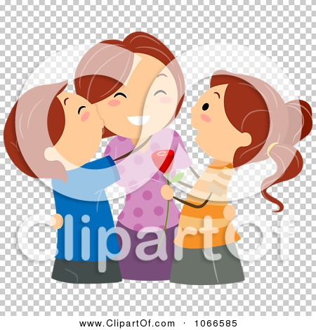 Clipart mom with kids image library download Clipart Kids Kissing Their Mom On Mothers Day - Royalty Free ... image library download