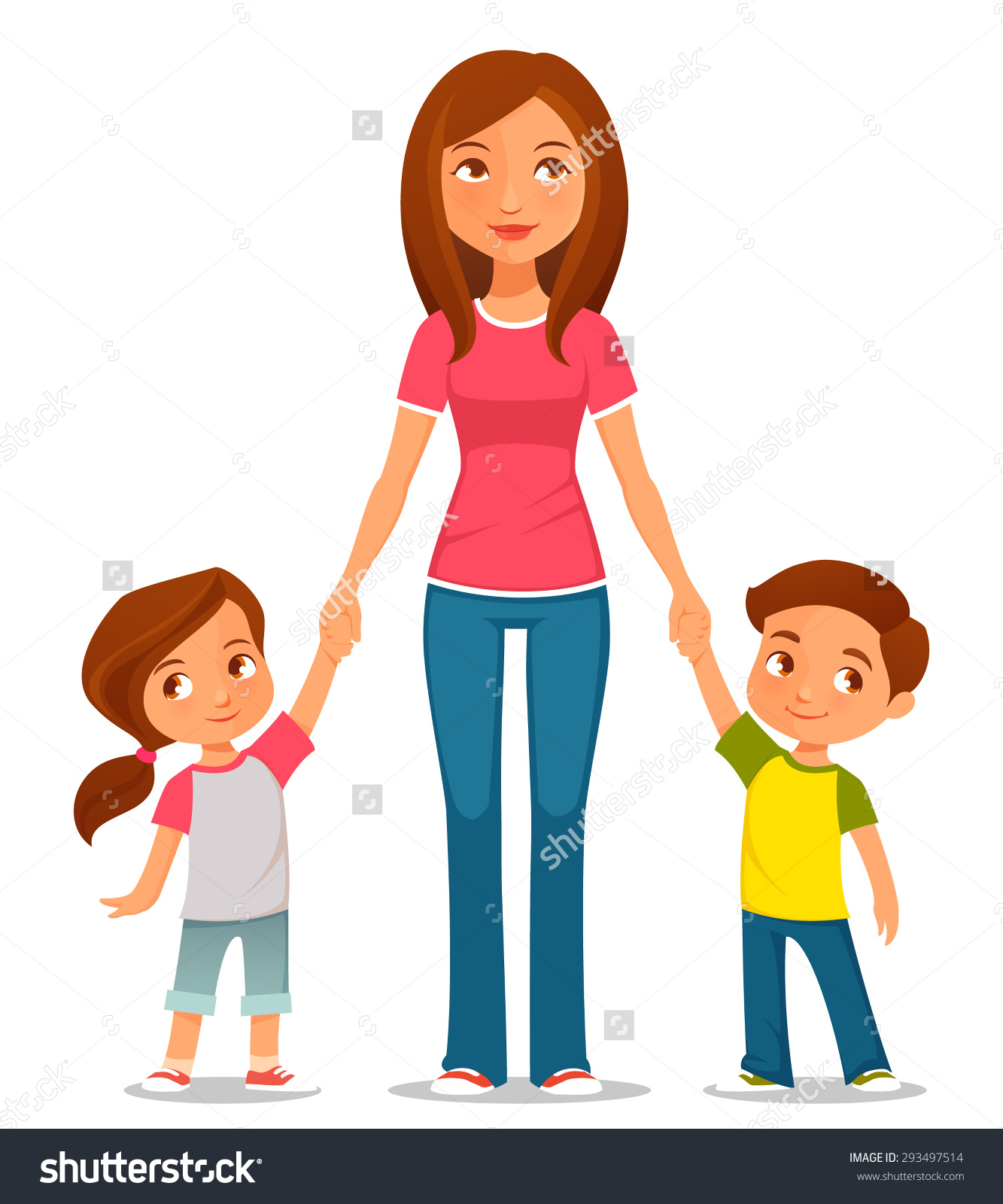 Clipart mom with kids jpg free library Clipart mom and kids - ClipartFest jpg free library