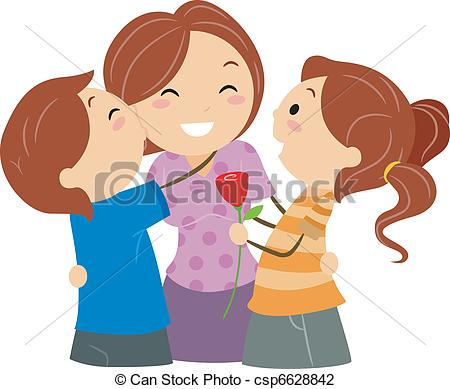 Clipart mom with kids vector black and white Kids and mom clipart - ClipartFest vector black and white