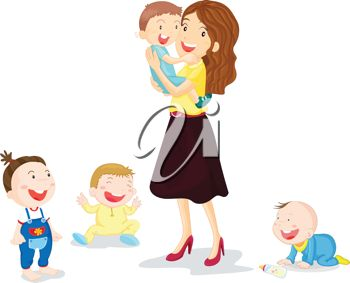 Clipart mom with kids clip library library iCLIPART - illustration of four kids with their mom | Mothers Day ... clip library library