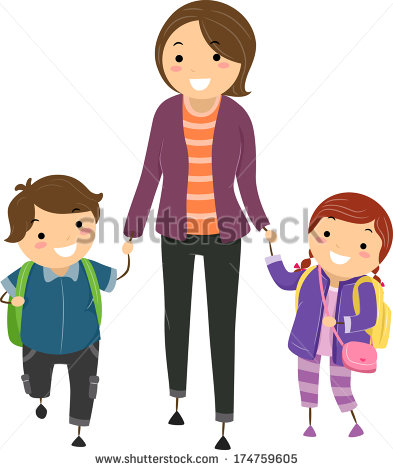 Clipart mom with kids download Illustration Kids Being Escorted By Their Stock Vector 174759605 ... download