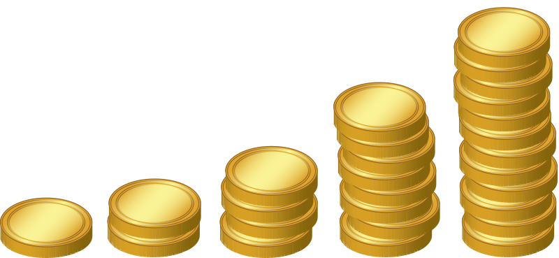 Vector gold coins clipart