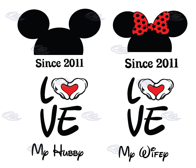 Clipart money for the bride and groom honeymoon svg free stock Love My Hubby My Wifey Mickey Minnie Mouse Head With Wedding Date ... svg free stock