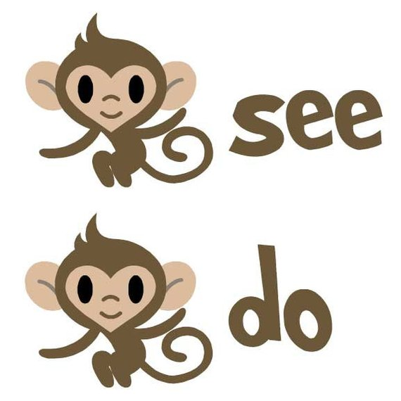 Clipart monkey see monkey do clipart black and white library Monkey See Monkey Do Grown-Up T-Shirt | Products | Monkey see monkey ... clipart black and white library