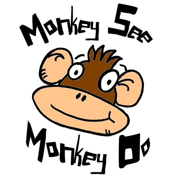 Clipart monkey see monkey do banner black and white download Monkey See Monkey Do... Family Friendly Improv! | San Ramon, CA Patch banner black and white download