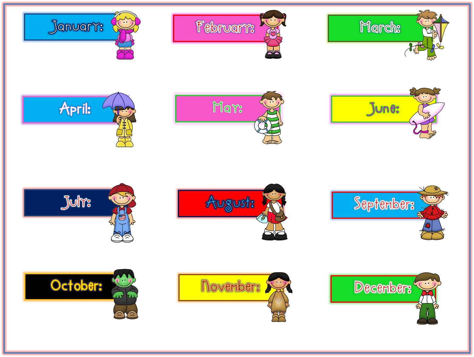 Kid each student it. Clipart month names