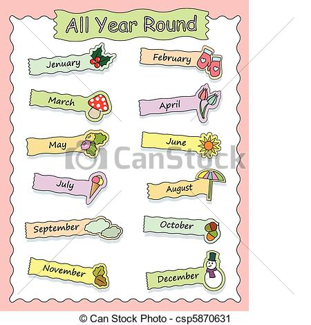 Vector eps images clip. Clipart month names
