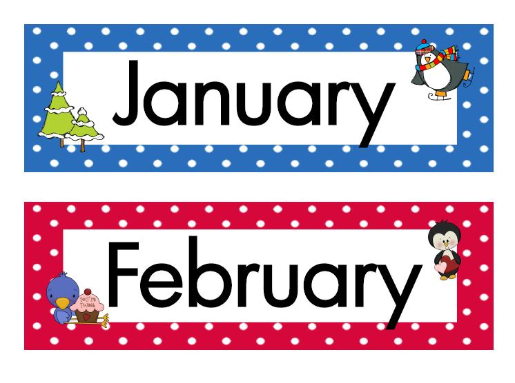 Clipart month names. Kid months of the
