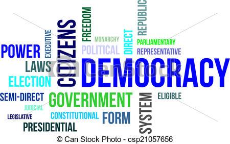 Clipart mot graphic black and white download Clipart Vector of mot, -, nuage, démocratie - a, mot, nuage, de ... graphic black and white download