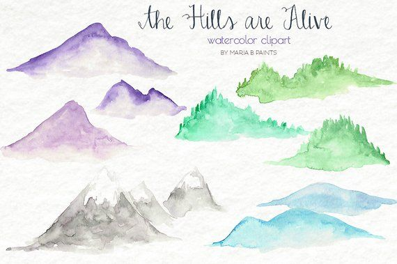 Clipart mountain top picture freeuse Watercolor Hills Clip art Mountains, Nature, Simple, Rolling Hills ... picture freeuse