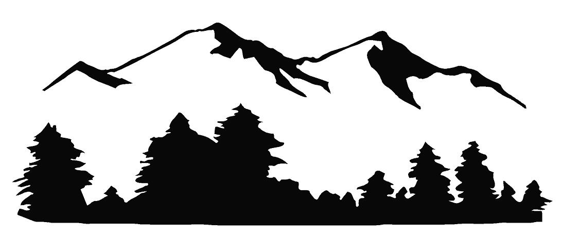 Mountains road clipart black and white