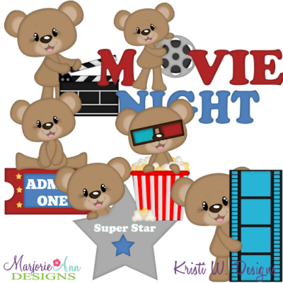 Clipart movie files jpg library stock Movie Night-Bentley The Bear SVG Cutting Files + Clipart - $2.28 ... jpg library stock