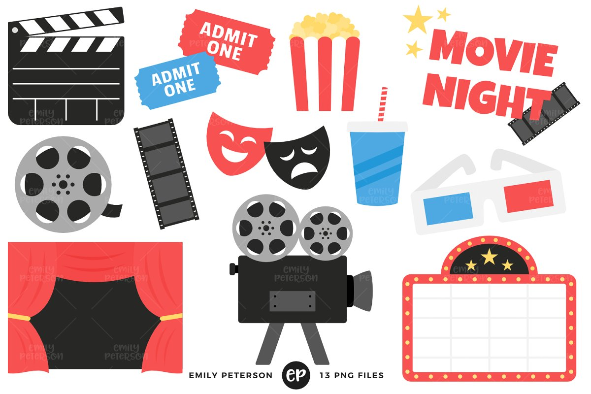 Clipart movie files jpg freeuse download Movie Night Clipart jpg freeuse download