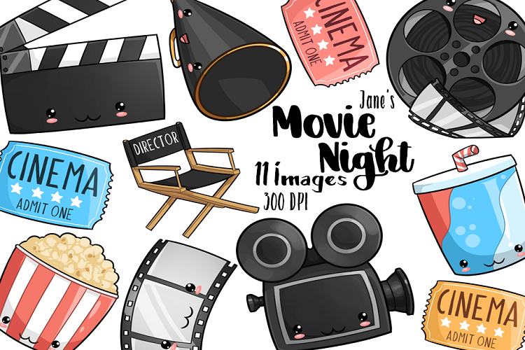 Clipart movie night clip art freeuse download Kawaii Movie Night Clipart clip art freeuse download