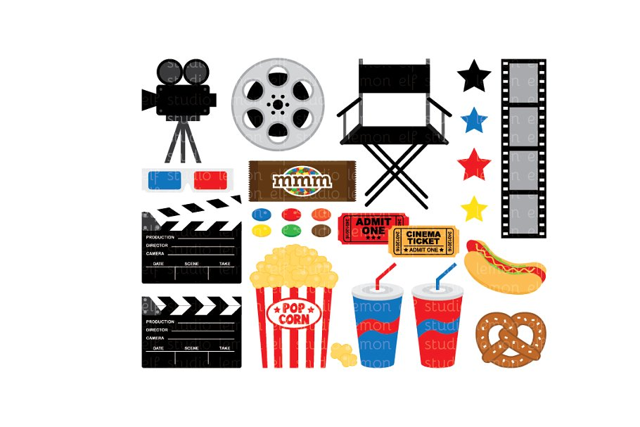Clipart movie night vector transparent download Movie Night Clipart (LES.CL27A) vector transparent download