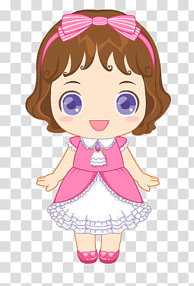 Clipart munecas image download Munecas, girl wearing pink and white dress illustration transparent ... image download