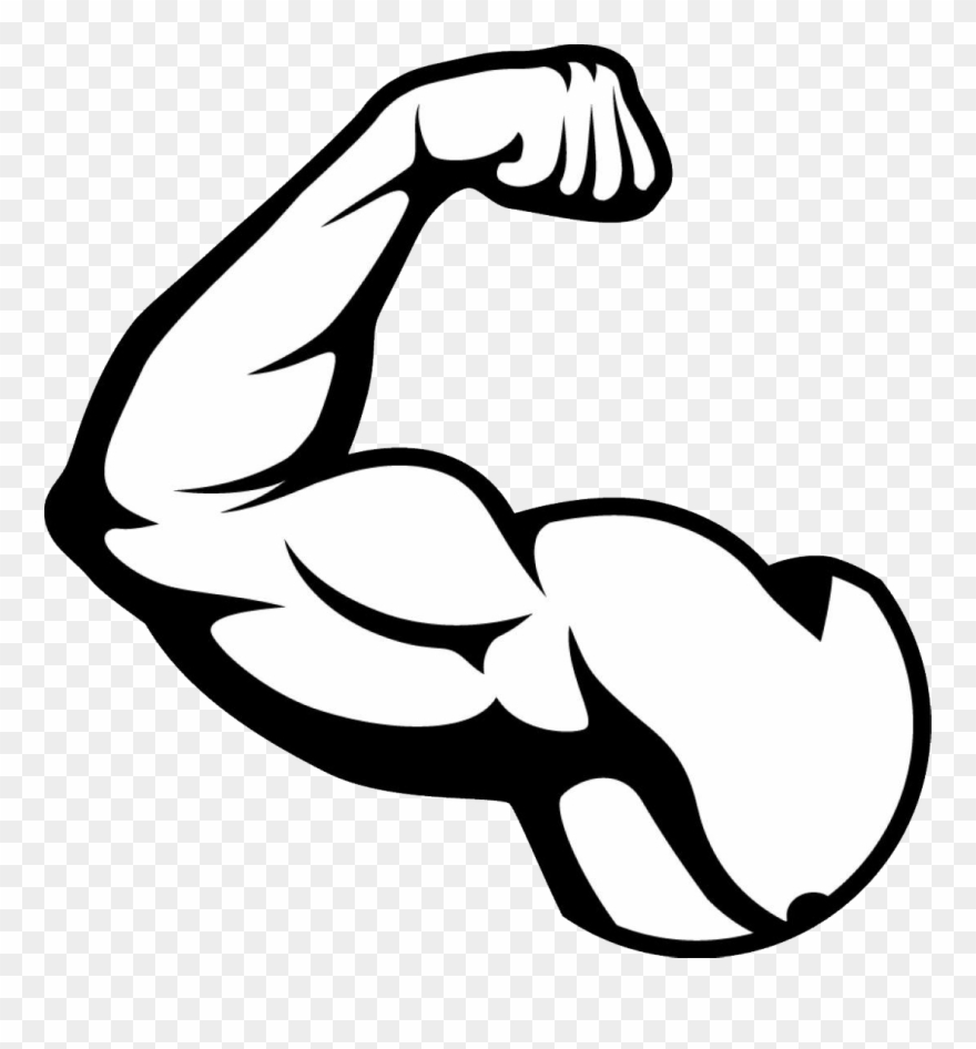 Flex clipart black and white transparent background. Clip art free muscle