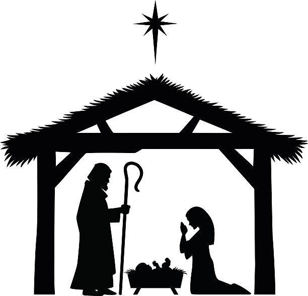 Clipart nativity scene jpg black and white download Nativity Scene Silhouette Clipart (91+ images in Collection) Page 3 jpg black and white download