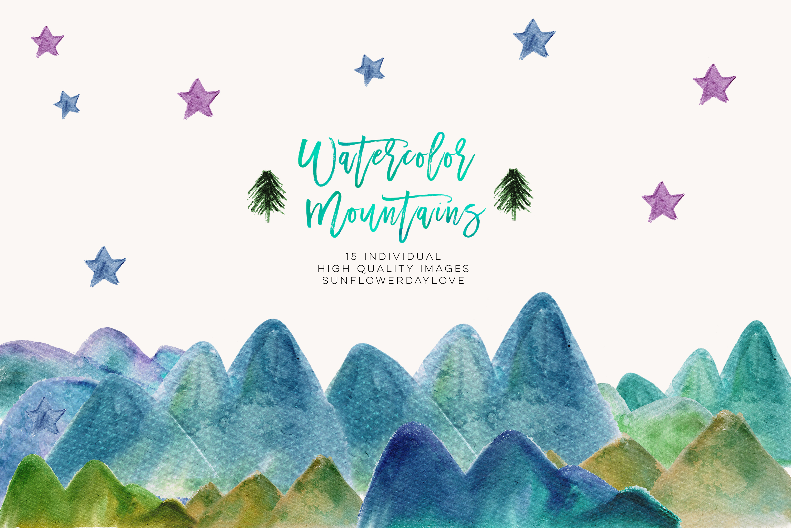 Clipart natural banner royalty free Watercolor Mountain Borders Clip Art, Mountain Forest Green clipart,  Watercolor Mountains Blue Green Clipart outdoor clipart, nature clipart -  Vsual banner royalty free