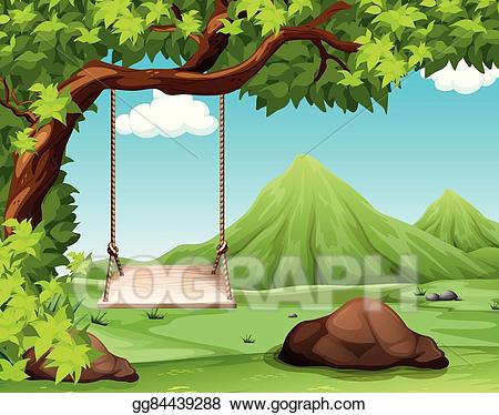 Natural scene clipart vector black and white stock Vector Art - Nature scene with swing on the tree. Clipart Drawing ... vector black and white stock