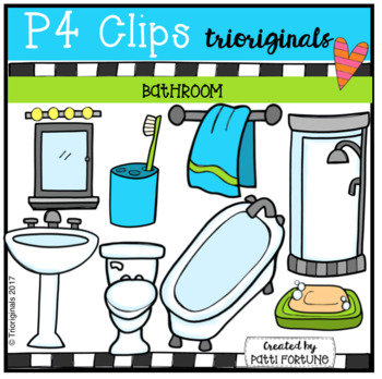 Clipart needs to go to the bathroom clip art black and white stock Parts of the House BATHROOM (P4 Clips Trioriginals Clip Art) clip art black and white stock