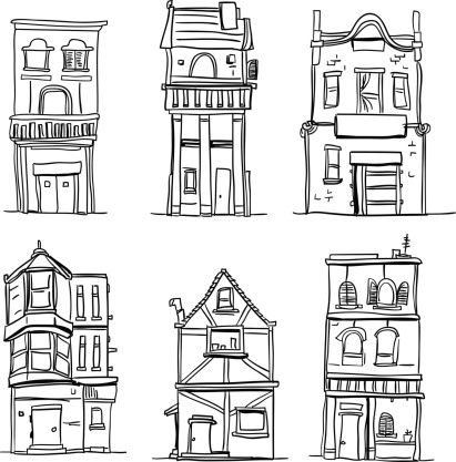 Clipart neighborhood single row black and white clipart Different types of houses in black and white | Drawing Ideas | House ... clipart