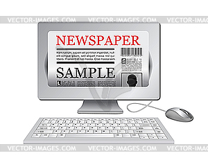 Clipart news online today svg library Online newspaper.Computer and news website - vector image svg library