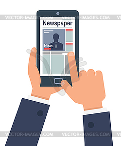 Clipart news online today picture freeuse download Person Online Reading Newspaper on their Smart - stock vector clipart picture freeuse download