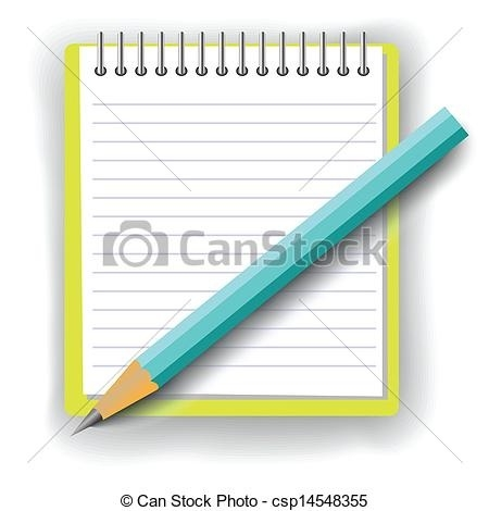 Clipart notebook and pencil svg royalty free Colorful Illustration With Notebook And Pencil For Your Design ... svg royalty free