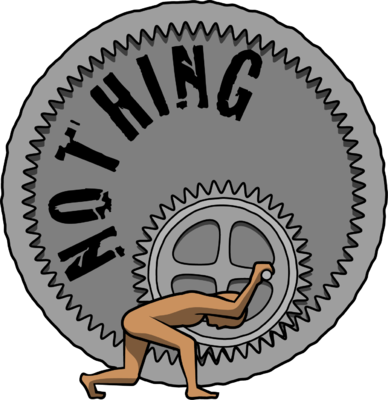 Clipart nothing svg freeuse stock Image: Man struggling to turning a giant wheel with the words ... svg freeuse stock