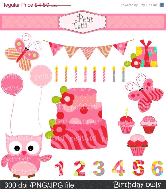 Clipart number 1 owl jpg royalty free download ON SALE owl clip art cake clip art instant download Digital jpg royalty free download