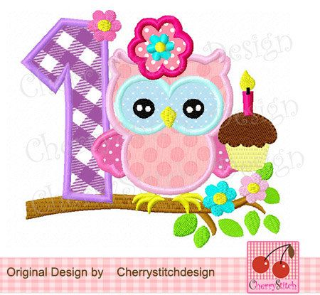 Clipart number 1 owl. Birthday with digital embroidery