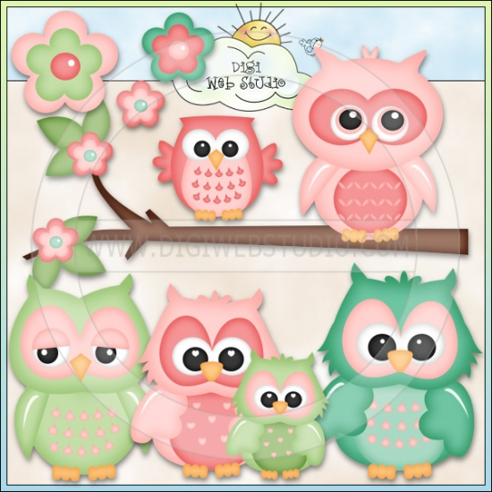 Clipart number 1 owl picture black and white download Cute Owls 1 - NE Kristi W. Designs Clip Art : Digi Web Studio ... picture black and white download