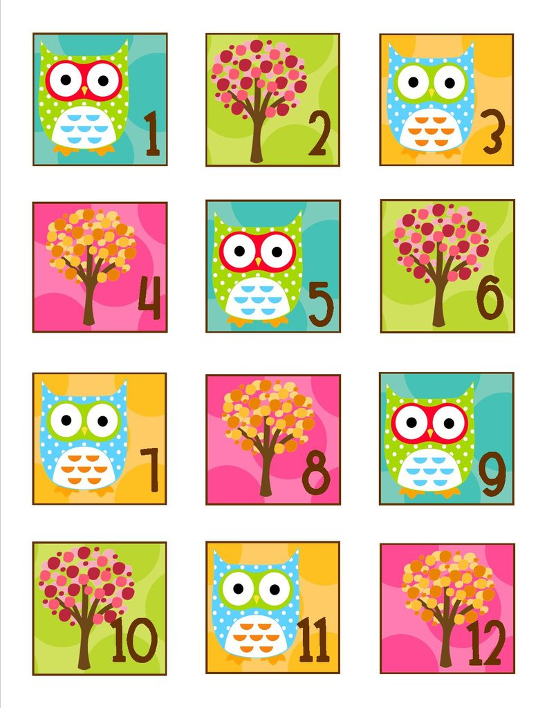 Clipart number 1 owl picture free stock Owl Calendar Numbers   Schoolgirl Style picture free stock