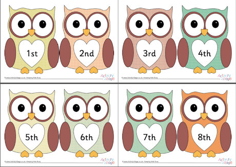 Ordinal numbers . Clipart number 1 owl