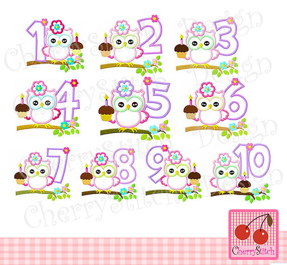 Clipart number 1 owl vector free download Birthday Owl with Numbers 1-10 Digital Embroidery Applique vector free download