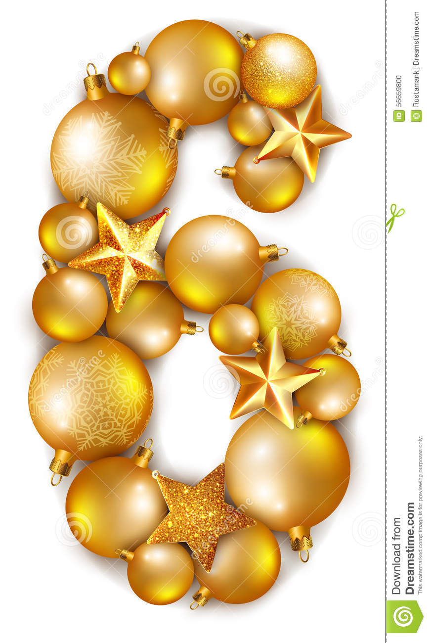 Clipart number 6 christmas jpg black and white library 6 Number Made Of Shiny Christmas Tree Balls Stock Vector - Image ... jpg black and white library