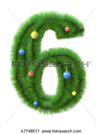 Clipart number 6 christmas vector black and white Stock Illustration of 6 number made of christmas tree branches ... vector black and white