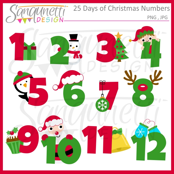 Clipart number 6 christmas png black and white stock Sanqunetti Design: 25 days of Christmas Numbers Clipart png black and white stock